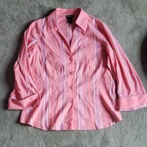 EUC Rafaella Sz 14 pink/white blouse